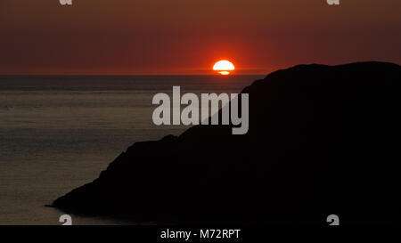 Sunset Over the West Coat of Anglesey, Wales UK - Stock Photo