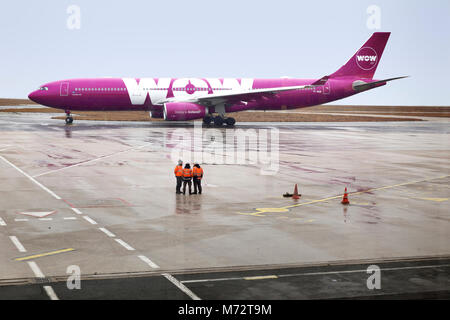 WOW Aribus passenger jet taxiing at Charles de Gaulle Airport in Paris, France.  WOW air was founded by Skuli Mogensen - Stock Photo