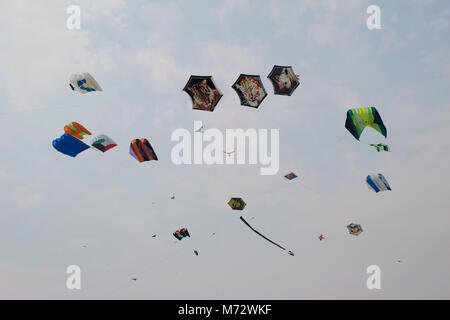 Various kites competing at the International Kite Festival at Sabarmati Riverfront, Ahmedabad, Gujarat, India - Stock Photo