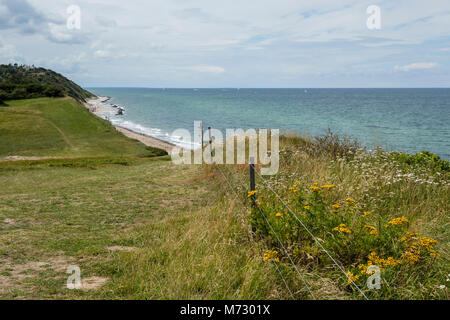 View from Heather Hill over the moraine cliff towards the Kattegat coast - Stock Photo