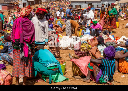 Dorze Women Selling Fruit At The Famous Saturday Market In The Village Of Chencha, High Up In The Guge Mountains, - Stock Photo