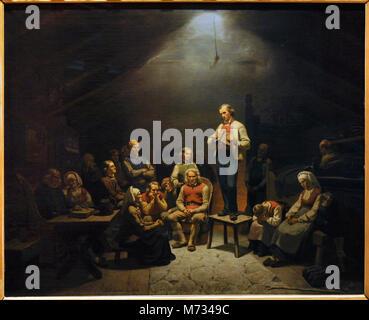 Adolph Tidemand (1814-1876). Norwegian Romantic painter. Low Church Devotion, 1852. National Gallery. Oslo. Norway. - Stock Photo