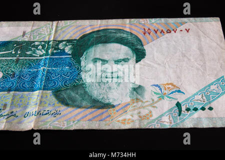 Close-up Iranian banknote and currency, Rials, Islamic Republic of Iran - Stock Photo