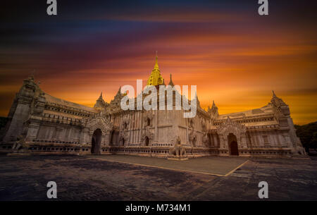 The Ananda temple at sunset in Bagan, Myanmar - Stock Photo