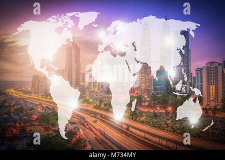 Double exposure world map and Kuala Lumpur city, Malaysia. background. Elements of this image furnished by NASA - Stock Photo