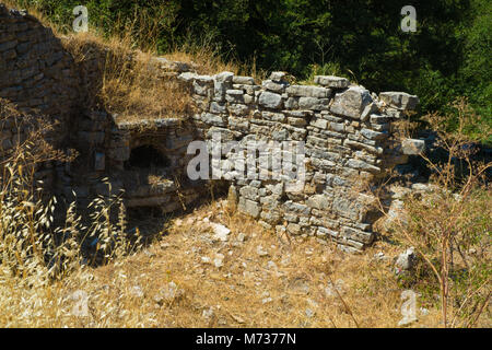 Old Perithia ancient archaeological site in Corfu - Stock Photo