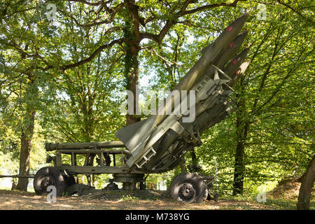defence forces weapon.  missiles rockets with warhead aimed to the sky camouflaged in a forest. - Stock Photo