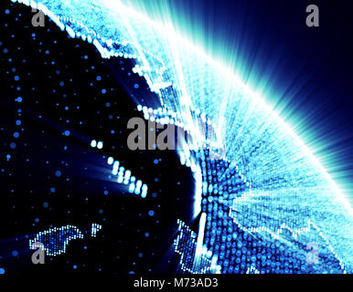 Technology Planet, Beautiful Glowing Earth, Space Planet - Stock Photo