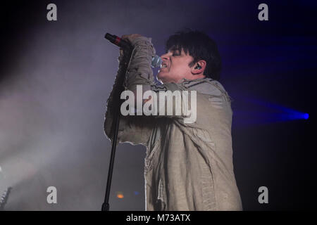 Norway, Oslo - March 4, 2018. The English singer, songwriter and composer Gary Numan performs a live concert at - Stock Photo