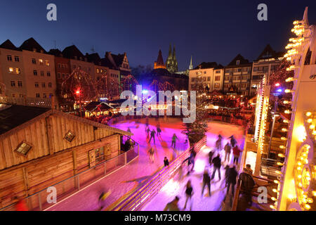 germany cologne skating rink on the christmas market at the stock photo 128950328 alamy. Black Bedroom Furniture Sets. Home Design Ideas