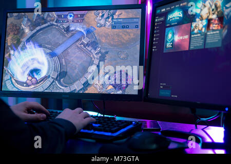 WROCLAW, POLAND -  FEBRUARY 02th, 2018: Man playing at Heroes of The Storm game. HotS is a multiplayer online battle - Stock Photo