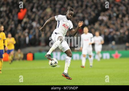 London, UK.. 7th March, 2018.  Davinson Sanchez (Tottenham)  during the UEFA Champions League, round of 16, 2nd - Stock Photo