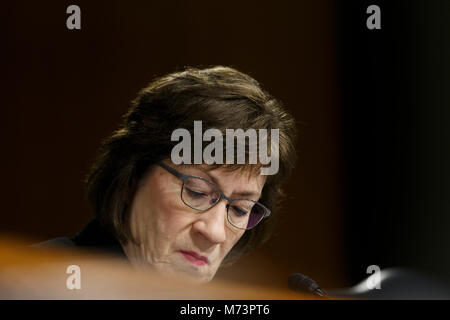 Washington, USA. 07th Mar, 2018. Senator Susan Collins, Republican of Maine, during a United States Senate Intelligence - Stock Photo