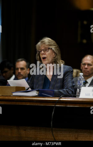 Washington, USA. 07th Mar, 2018. Brenda Farrell of the United States Government Accountability Office testifies - Stock Photo