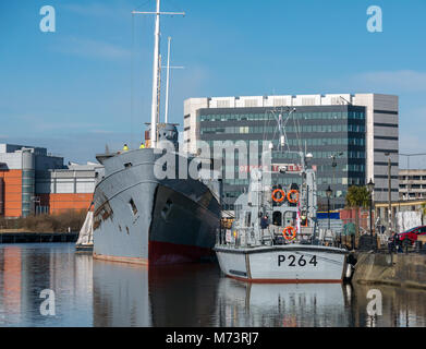 Leith Harbour, Leith, Edinburgh, Scotland, United Kingdom, 8th March 2018.  MOD training vessel P264 and former - Stock Photo