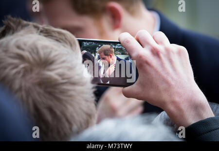 Prince Harry and Meghan Markle arrive at Millenium Point for International Women's Day in Birmingham, UK, March - Stock Photo
