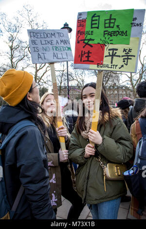 London, UK. 8th March, 2018. International Women's Day 2018 - London Women's Strike Credit: Brian Duffy/Alamy Live - Stock Photo