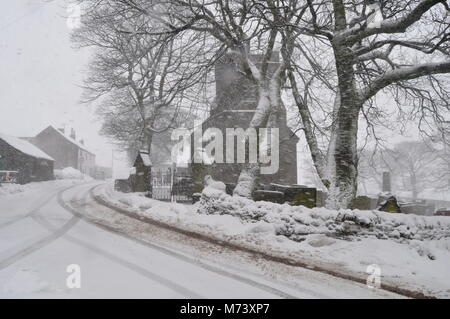 Spring snow at Flash, Staffordshire, the highest village in the UK - Stock Photo