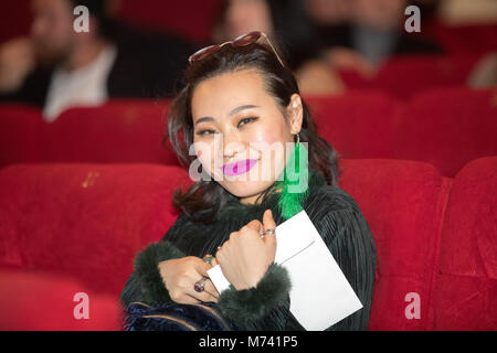 Moscow, Russia. 6th March, 2018. Actress Yang Ge, attends the premiere of film 'I Am Losing Weight' at the cinema - Stock Photo