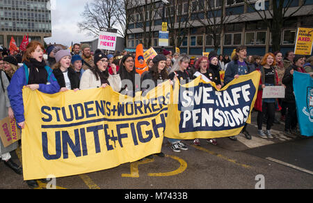 Sheffield, UK, 8th March 2018. Female University of Sheffield students chanting and leading a students and staff - Stock Photo