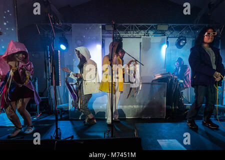 London, UK. 8th March, 2018. Superorganism performing live on stage at Oval Space in London. Photo date: Thursday, - Stock Photo