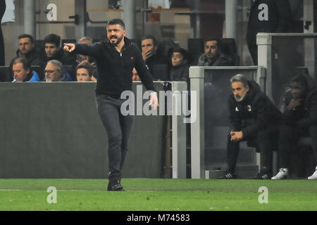 Milan, Italy. 8th March, 2018. during the match UEFA Europa League between AC Milan and Arsenal FCat  Meazza Stadium. - Stock Photo