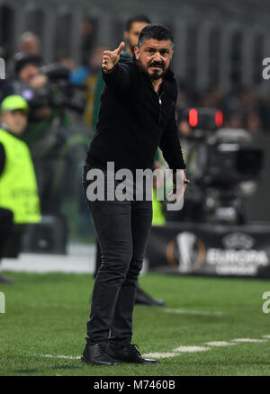 Milan, Italy. 8th Mar, 2018. AC Milan's coach Gennaro Gattuso gestures during a Europa League round of 16 first - Stock Photo