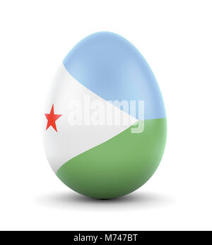 High quality realistic rendering of an glossy egg with the flag of Djibouti.(series) - Stock Photo