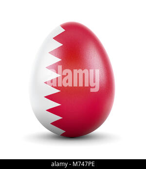 High quality realistic rendering of an glossy egg with the flag of Bahrain.(series) - Stock Photo