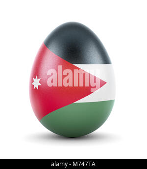 High quality realistic rendering of an glossy egg with the flag of Jordan.(series) - Stock Photo
