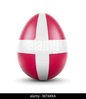 High quality realistic rendering of an glossy egg with the flag of Denmark.(series) - Stock Photo