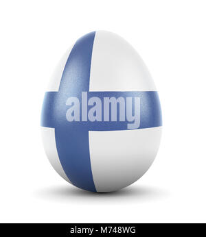 High quality realistic rendering of an glossy egg with the flag of Finland.(series) - Stock Photo