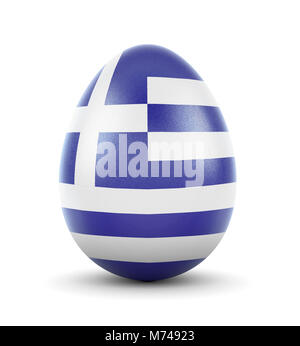 High quality realistic rendering of an glossy egg with the flag of Greece.(series) - Stock Photo