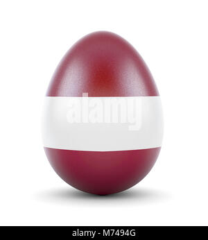 High quality realistic rendering of an glossy egg with the flag of Latvia.(series) - Stock Photo