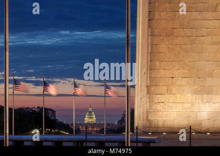 Dawn over Washington Monument and the US Capitol Building, Washington, DC, USA - Stock Photo