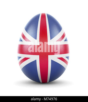 High quality realistic rendering of an glossy egg with the flag of United Kingdom.(series) - Stock Photo