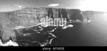 Black and white picture of the world famous cliffs of moher in county ireland. beautiful scenic irish countryside - Stock Photo