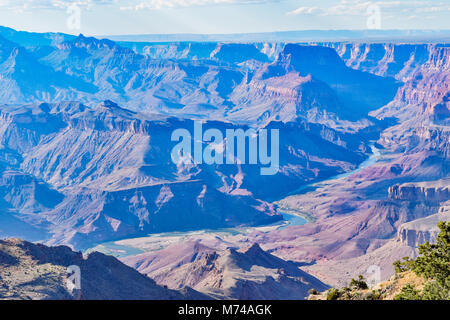 Stunning views from the south rim of the Grand Canyon and the Colorado River running through it. - Stock Photo