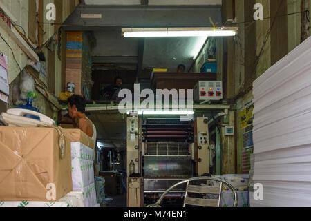 Yangon (Rangoon): printing office shop, managment on top upstairs, Colonial Quarter, Yangon Region, Myanmar (Burma) - Stock Photo