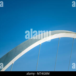 Abstract Architecture Detail Of A Section Of A Suspension Bridge With Blue Sky And Copy Space - Stock Photo