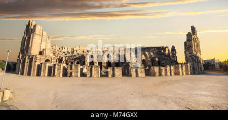 Panoramic view of ancient roman amphitheater in El Djem. Mahdia governorate, Tunisia, North Africa - Stock Photo