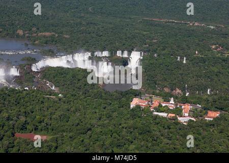 Summer panorama aerial Iguazu Falls waterfalls, UNESCO world heritage site, natural wonders of the world, Belmond - Stock Photo