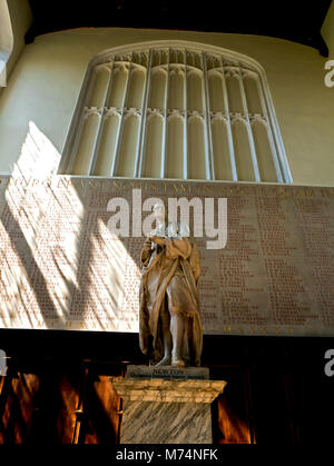 Statue of Sir Isaac Newton in Ante Chapel of Trinity College Cambridge - Stock Photo