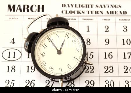 Daylight Savings Spring Forward sunday at 2:00 a.m. March 11 date indicated in the calendar - Stock Photo
