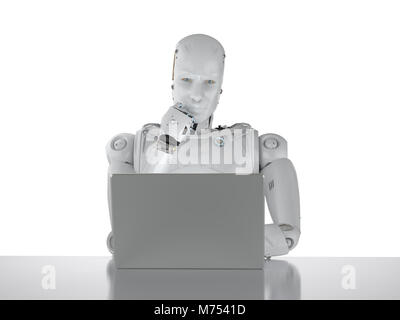3d rendering humanoid robot working on laptop computer - Stock Photo