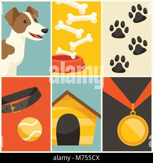 Background with cute dog, icons and objects - Stock Photo
