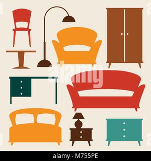 Interior icon set with furniture in retro style - Stock Photo