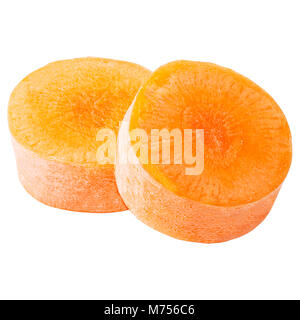 Isolated carrot. Set of freshly slices carrots  isolated on white background with clipping path as package design - Stock Photo