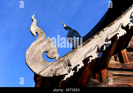 thailand  art of temple made from wood carvings old style over 100 years old travel place at north of country - Stock Photo