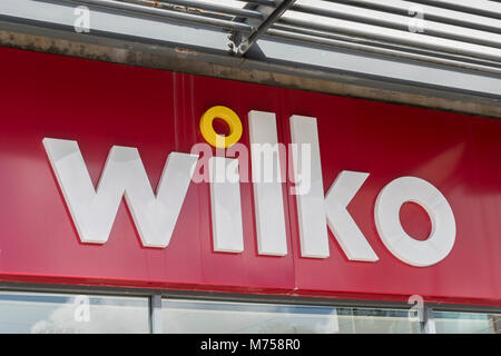 Logo of the legendary high street household essentials store Wilko, or Wilkos. At. St. Austell, mid-Cornwall. - Stock Photo